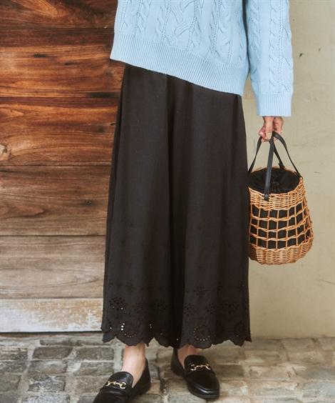 パンツ|裾レース刺しゅう付ペチパンツ ニッセン nissen(黒)