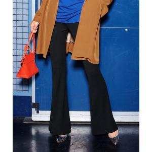 パンツ ブーツカット 大きいサイズ レディース カットソー リブフレア スパイラルガール+ L〜10L ニッセン nissen|ニッセン PayPayモール店