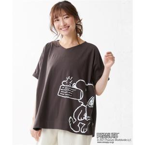 Tシャツ カットソー 大きいサイズ レディース スヌーピー USAコットン100% ゆるシルエット L〜LL/3L〜4L/5L〜6L/7L〜8L/9L〜10L ニッセン nissen ニッセン PayPayモール店
