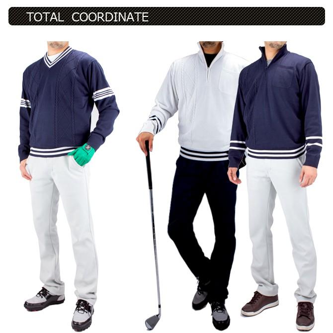 ゴルフウェア メンズハーフジップセーター 防風