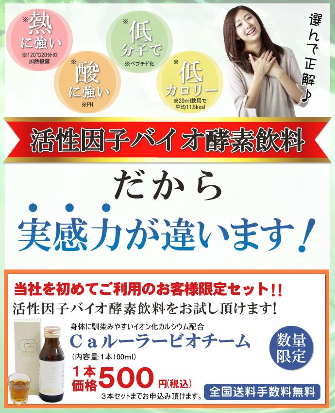 酵素飲料を500円からお試し頂けます。