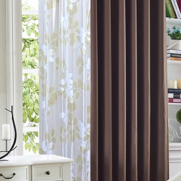 カーテン  遮光1級or遮光2級カーテン+リーフ柄ミラーレースカーテン セット 4色  80サイズ オーダーカーテン ドレープカーテン curtain|nt-curtain|21