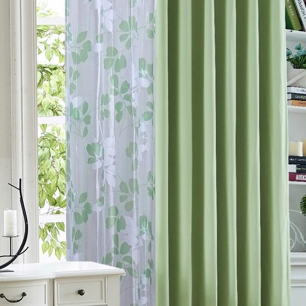 カーテン  遮光1級or遮光2級カーテン+リーフ柄ミラーレースカーテン セット 4色  80サイズ オーダーカーテン ドレープカーテン curtain|nt-curtain|22