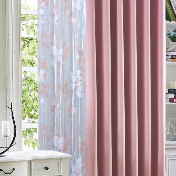 カーテン  遮光1級or遮光2級カーテン+リーフ柄ミラーレースカーテン セット 4色  80サイズ オーダーカーテン ドレープカーテン curtain|nt-curtain|19