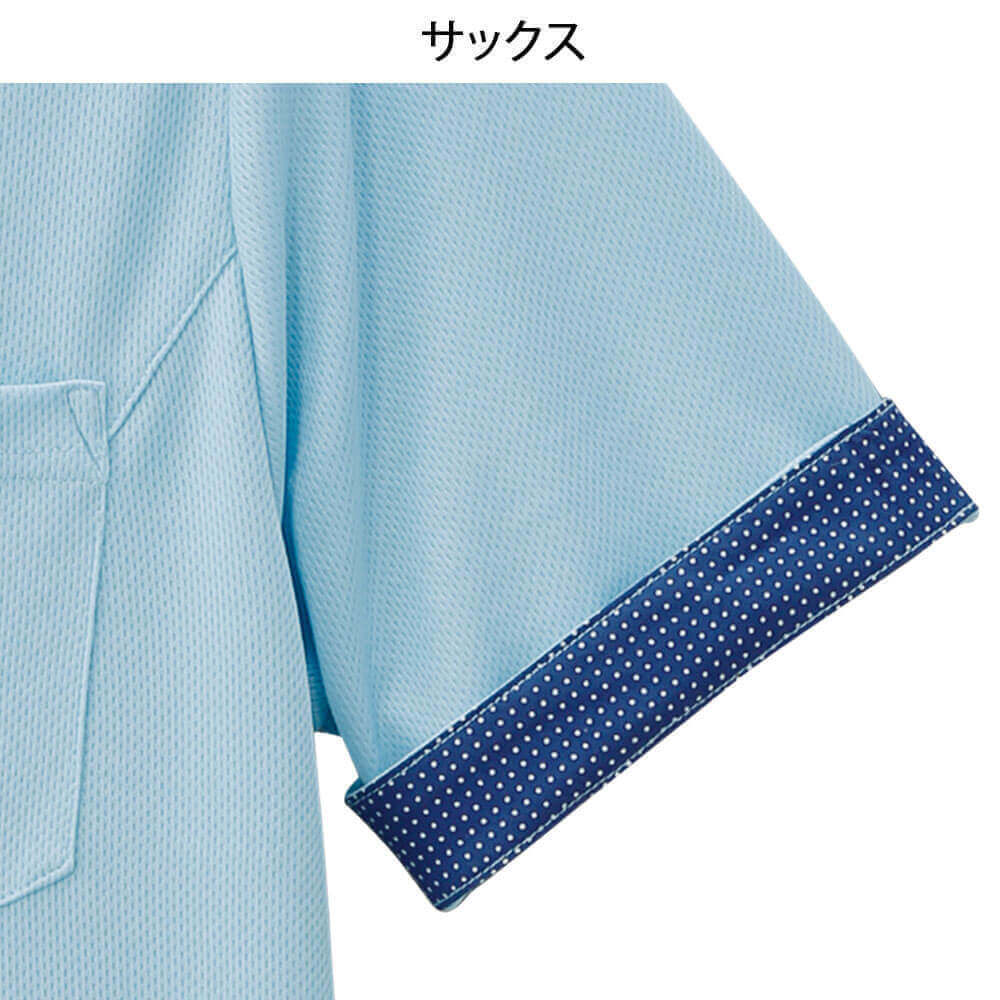 吸汗速乾 ゆったり袖柄入りポロシャツ