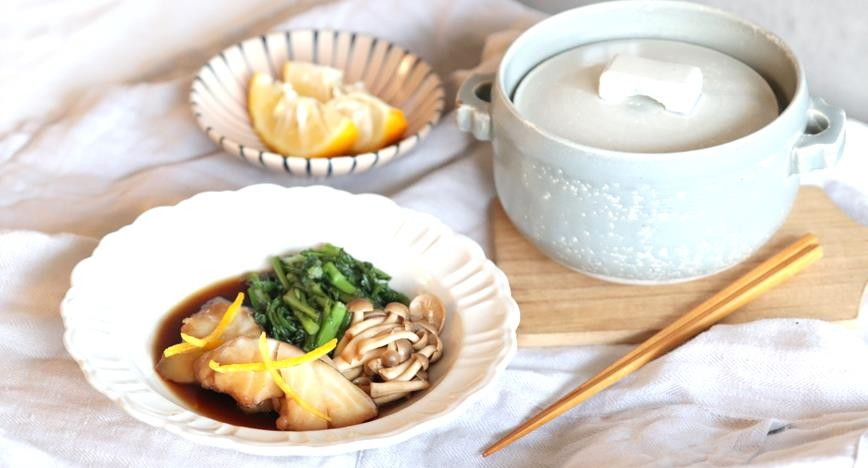 鱈と春菊の煮つけ