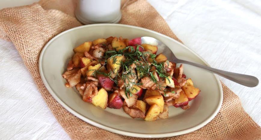 さつま芋と豚肉の焼き肉タレ炒め