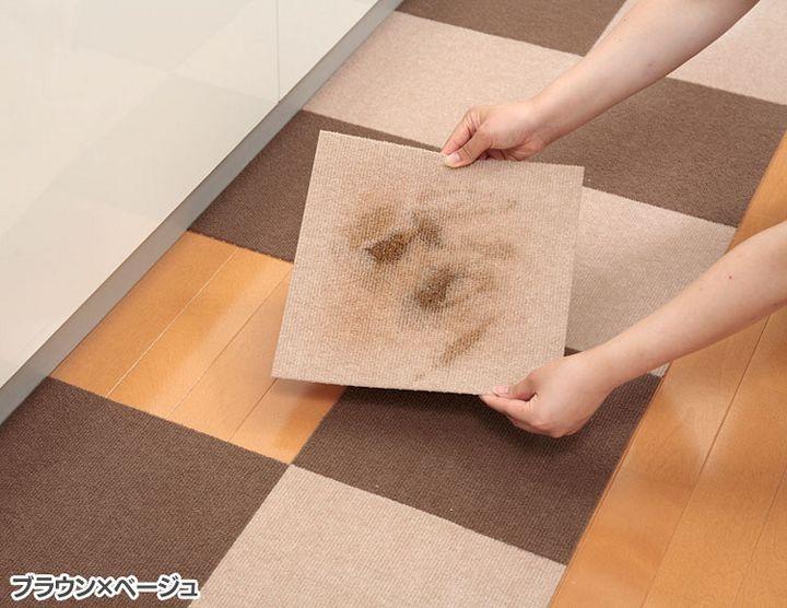 【タイルカーペットピタッと吸着洗えるカーペットペットおくだけタイルマット25×25cm20枚組カテキン入り撥水加工サンコー】