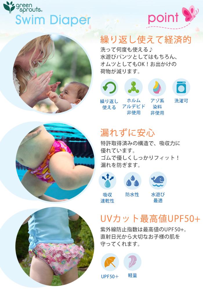 i play【アイ プレイ】Swim Diaper【スイム ダイパー】 オムツ機能付 スイムパンツ ベビー水着 UPF50+