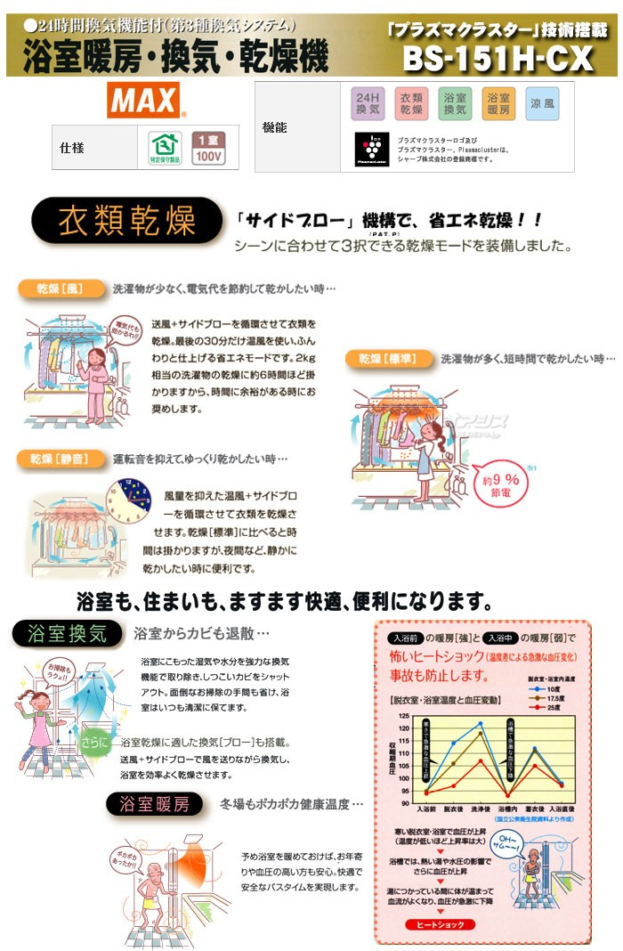 浴室暖房乾燥機 100V・プラズマクラスター搭載 1室換気タイプ BS-151H-CX 【台数限定・在庫有り】