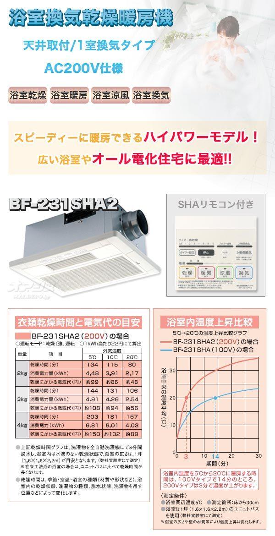 高須産業(TKC) 浴室換気乾燥暖房機(天井取付/1室) 200V仕様 BF-231SHA2【受注生産品】