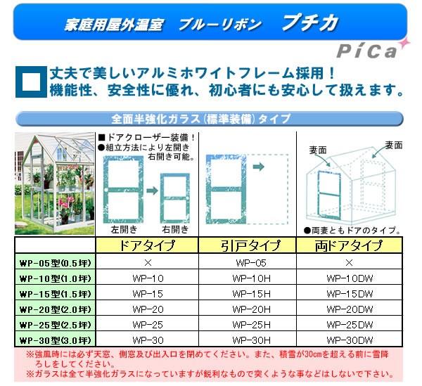ピカコーポレーション(PICA) 家庭用屋外温室 プチカ(全面半強化ガラス) 引戸タイプ WP-10H【条件付送料無料】