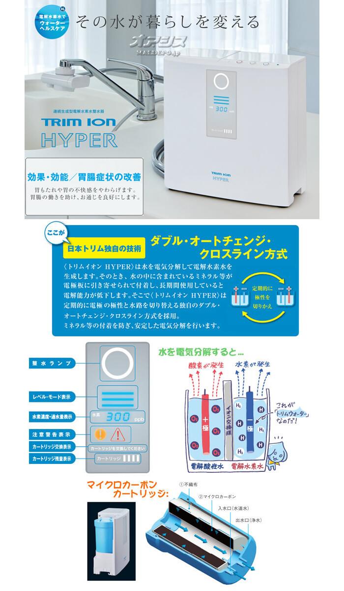 家庭用連続生成型電解水素水整水器 TRIM ION HYPER(トリムイオンハイパー) 取付工事費込