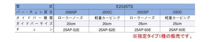 エンジンチェンソー E2025TS/250SP 250mm 25AP スプロケットノーズバー
