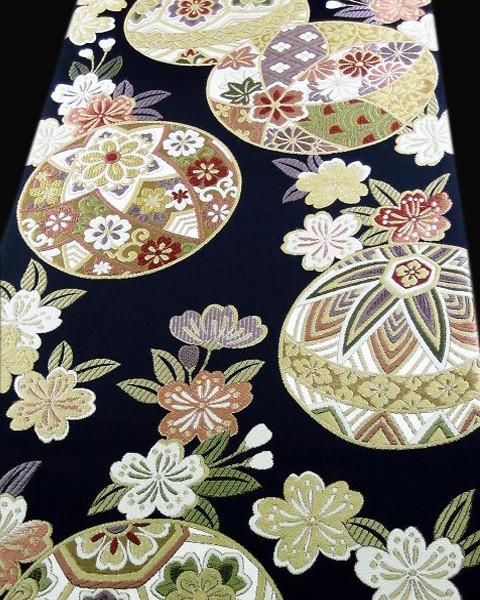振袖帯・正絹袋帯・西陣織・豪華な手まり模様・古典柄
