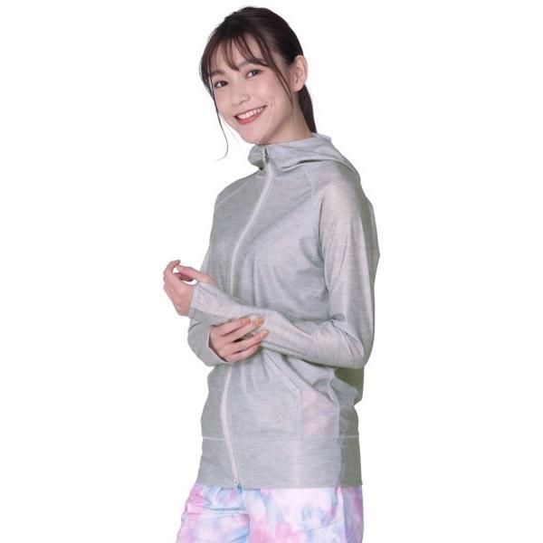 ラッシュガード レディース 長袖 フード パーカー 水着 体型カバー 紫外線対策 おしゃれ 大きいサイズ 透けない白 IR-7100|oc-sports|30