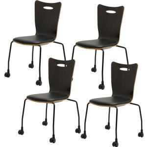 法人様限定 ミーティングチェア 会議用チェア キャスター付き スタッキングチェアプライウッドチェア 4脚セット チェア 椅子 アメーボ|officecom|16
