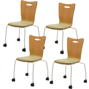 法人様限定 ミーティングチェア 会議用チェア キャスター付き スタッキングチェアプライウッドチェア 4脚セット チェア 椅子 アメーボ|officecom|14