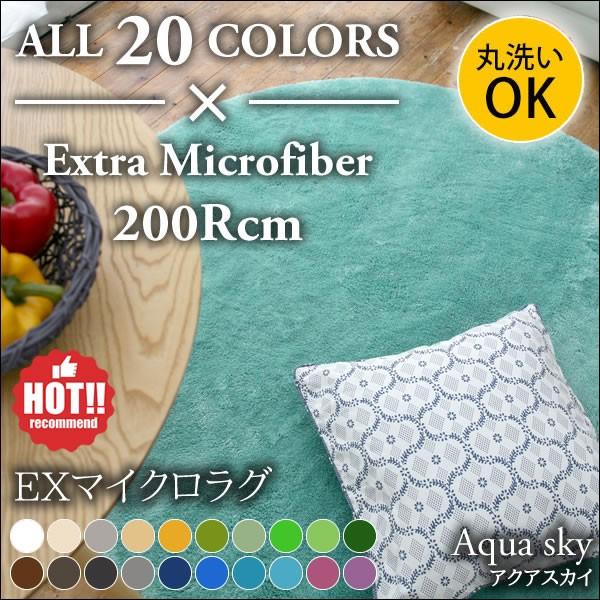 洗える EXマイクロファイバーラグ アクアスカイ 200Rcm LITS-MS-300-097