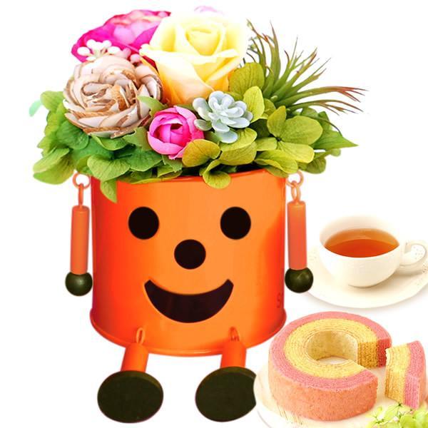 誕生日 プレゼント 内祝い お祝い 結婚祝い プリザーブドフラワー バラ ギフト 和菓子 お菓子 花とスイーツ 女性|oimoya|27