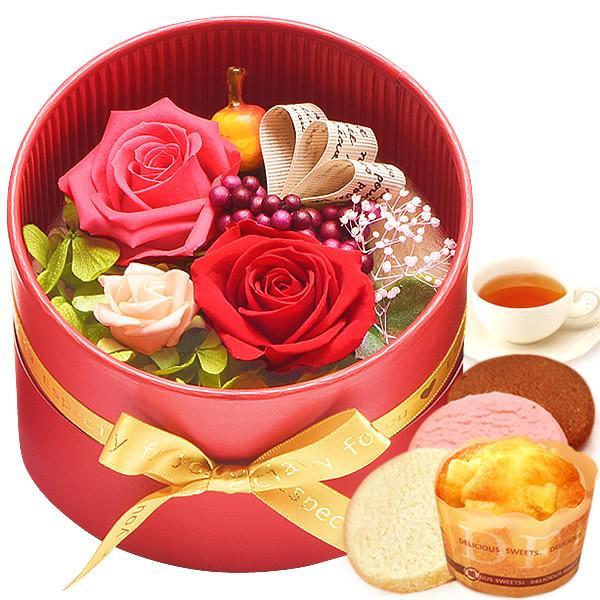 誕生日 プレゼント 内祝い お祝い 結婚祝い プリザーブドフラワー バラ ギフト 和菓子 お菓子 花とスイーツ 女性|oimoya|17