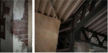 天井の梁、床材をはがじたままのコンクリート