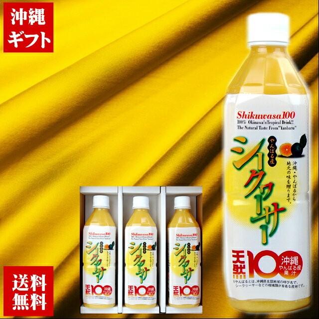 青切り やんばる産シークワーサー500ml×3本 沖縄宝島ギフトセット
