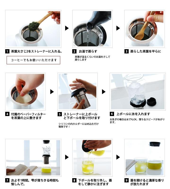 ハリオスロードリップブリューワーは簡単にアロマのきいたお茶やコーヒーを低温抽出できます