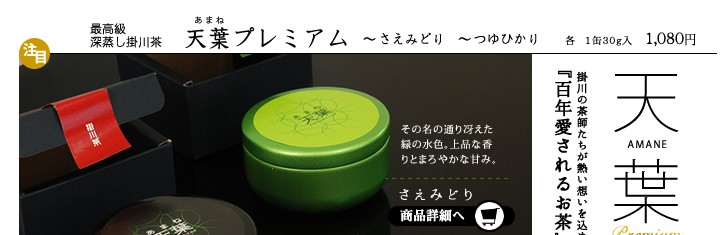 掛川最高級深蒸し茶 天葉プレミアム さえみどり、つゆひかり さえみどりの商品詳細へ