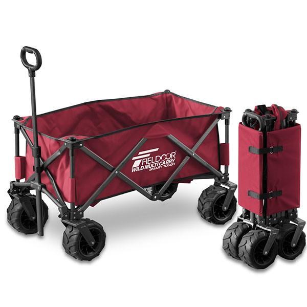 キャリーワゴン タイヤ大きい 大容量 126L 耐荷重150kg キャリーカート 折りたたみ 自立式 丈夫 アウトドア キャンプ 買い物 海 おしゃれ FIELDOOR 送料無料 onedollar8 09