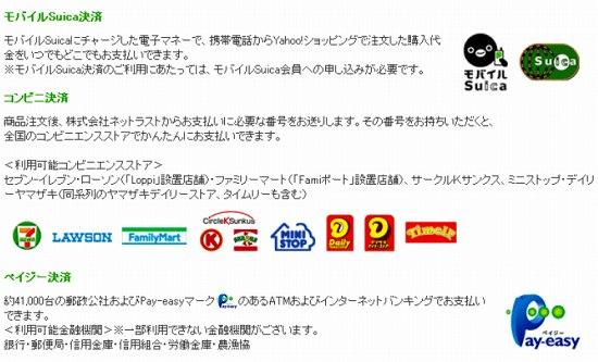 コンビニ・ペイジー・モバイルSuica決済