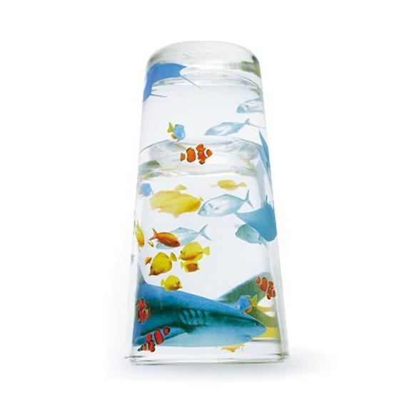 FiiiiiSH アクアリウム グラス かわいいお魚柄のタンブラー2個セット ペアセット