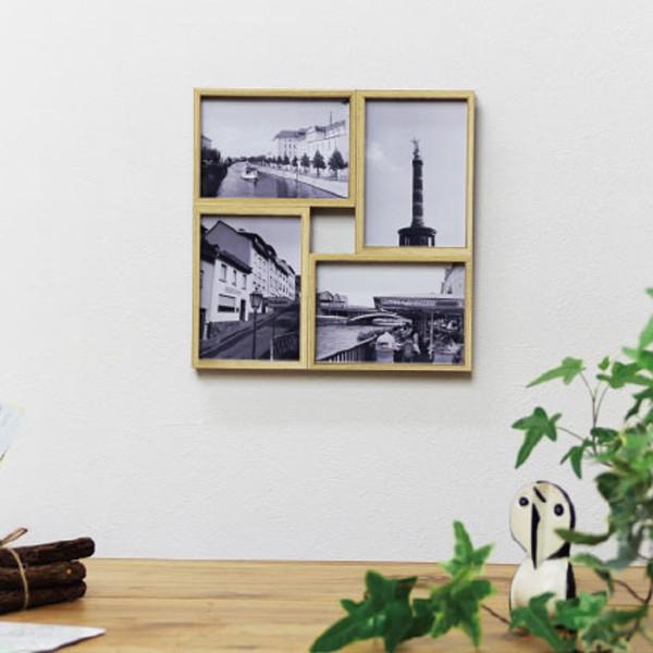 ハロウ フォー おしゃれ フォトフレーム 4枚飾れる木枠風の写真立て