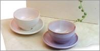 萩焼 陶器 Shikisai まめ碗皿 ペアセット 和食器 お皿と碗セット ギフトボックス 木箱入り