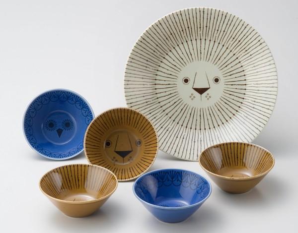 ミッケ パーティーボウルセット ライオンとフクロウの食器セット お皿 プレート ボウル 小鉢 日本製 和食器 陶器