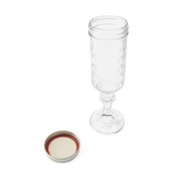 おしゃれなビンのシャンパン フルート グラス レッドネック メイソンジャー ガラス瓶 コップ