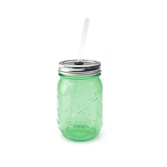 メイソンジャーのビンのグラス レッドネック シッパー グリーン ストロー付き 単品