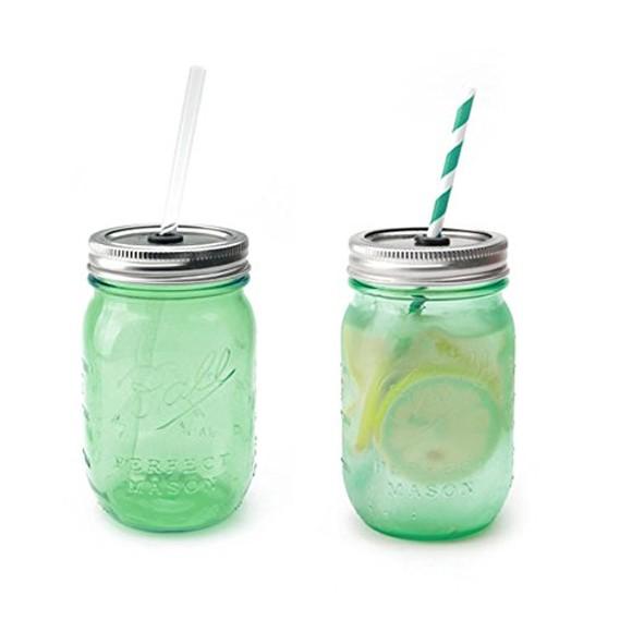おしゃれなビンのグラス レッドネックシッパー メイソンジャー ガラス瓶 コップ ペアセット