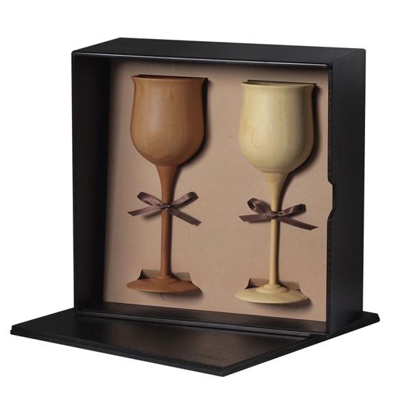RIVERET 竹製 ワイングラス ペアセット ワインベッセル 木製 ギフトBOX入り 日本製