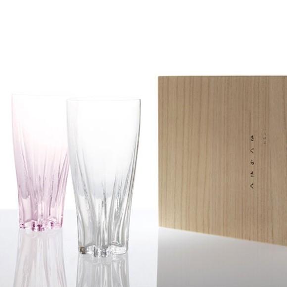 サクラサクグラス ビールグラス ペアグラス 紅白 桜の花びらの形をしたおしゃれなグラス さくら
