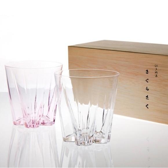 サクラサクグラス ロックグラス ペアグラス 紅白 木箱入り 桜の形をしたおしゃれなグラス