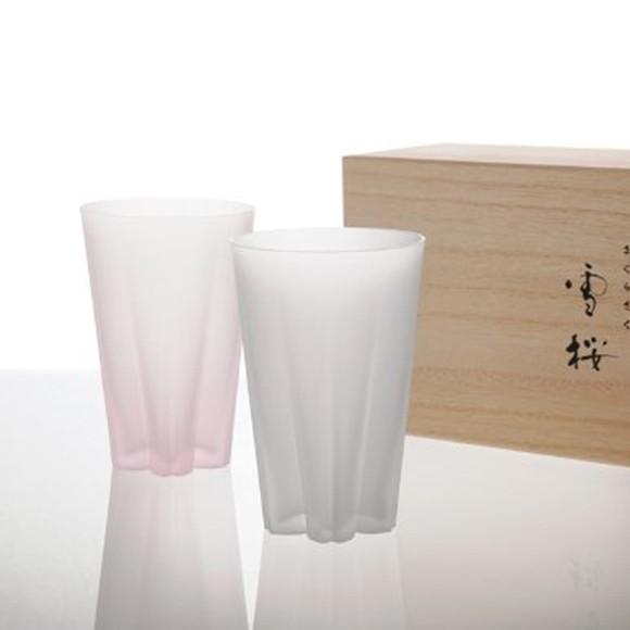 サクラサクグラス タンブラー ペアグラス 雪桜 紅白 木箱入り 桜の形をしたおしゃれなグラス