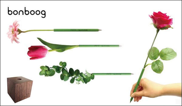 bonbood ボンブーグ ボタニカルペン ロイヤルローズ お花のボールペンと木のペンスタンド セット