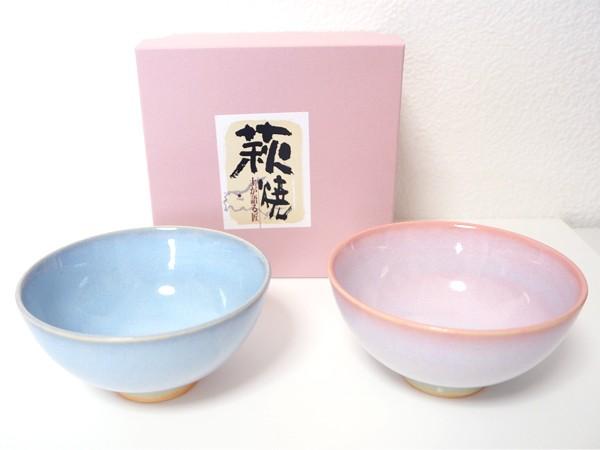 萩焼 Shikisai ペアカップ ギフトボックス 木箱入り 桜色 陶器