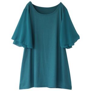 レディース Tシャツ トップス 半袖 カットソー シフォン パステル フレアスリーブデザインTシャツ※メール便可※【5】|オシャレウォーカー