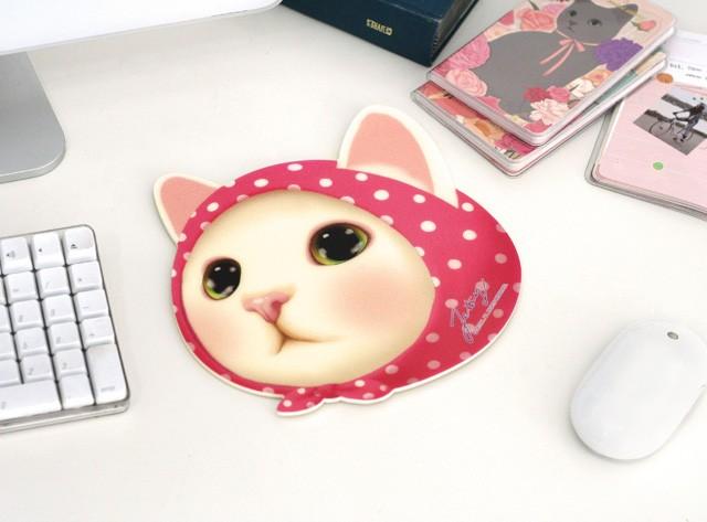 猫の顔型マウスパッド 【ピンクずきん】 choochoo