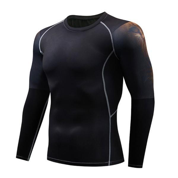 加圧インナー アンダーシャツ メンズ 加圧シャツ コンプレッションウェア 吸汗 速乾 トレーニングウェア スポーツウェア 長袖|otasukemann|23