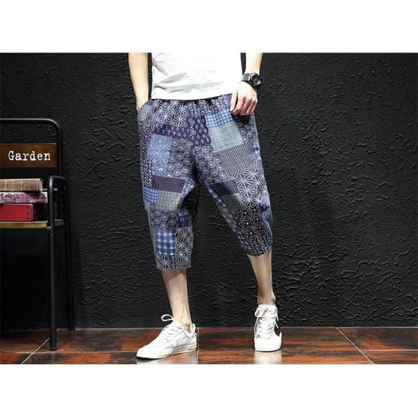 サルエルパンツ メンズ ズボン クロップドパンツ ワイドパンツ バギーパンツ ガウチョパンツ 涼しい 七分丈 ゆったり 無地|otasukemann|27