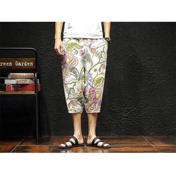 サルエルパンツ メンズ ズボン クロップドパンツ ワイドパンツ バギーパンツ ガウチョパンツ 涼しい 七分丈 ゆったり 無地|otasukemann|23