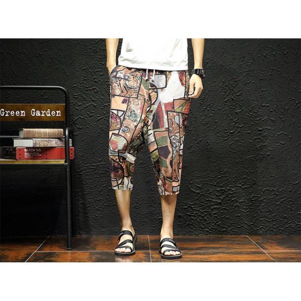 サルエルパンツ メンズ ズボン クロップドパンツ ワイドパンツ バギーパンツ ガウチョパンツ 涼しい 七分丈 ゆったり 無地|otasukemann|24